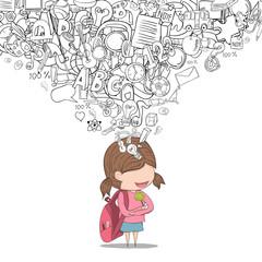 Schoolgirl pupils back of school background, drawing by hand vec