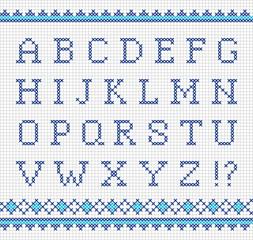 Embroidering vector alphabet