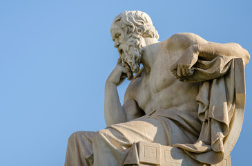 Close Up Statue of the Philosopher Socrates