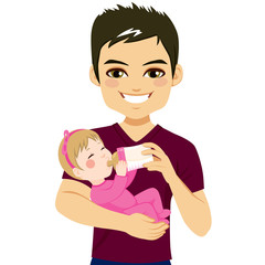 Young father happy feeding cute little baby daughter with milk bottle
