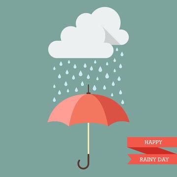 Cloud with Rain drop on umbrella