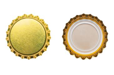 yellow bottle caps isolated on white background