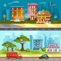 Town life banner cityscape night and day city