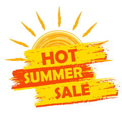 hot summer sale with sun sign, yellow and orange drawn label, ve