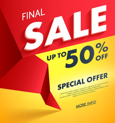 Final Sale offer poster banner vector illustration.