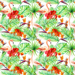 Flamingo, tropical leaves and exotic flowers. Seamless jungle background. Watercolor