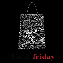 Vector. Black Friday, the night of discounts. Bag.