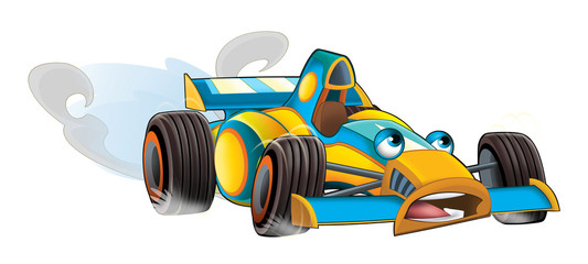 Cartoon sports car racing - isolated - illustration for the children
