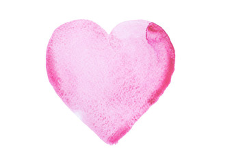 Hand drawn watercolor heart isolated on a white background