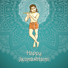cartoon. illustration of Lord Krishana in Happy Janmashtami blue background Indiian mandala vector