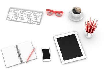 Office workplace set on white table. Pc, tablet, smartphone, notebook, red stationery, red glasses, cup of coffee, keyboard.