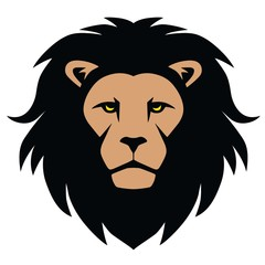 Lion Head Mascot Cartoon Illustration