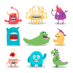 Set of nine cartoon cute monsters on white background.