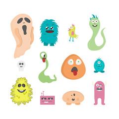 Set of twelve cartoon cute monsters on white background.
