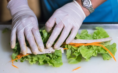 Processing of salad roll