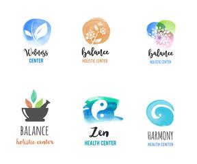 Alternative medicine and wellness, yoga, zen meditation concept - vector watercolor icons, logos