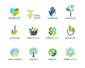 Alternative, Chinese medicine and wellness, yoga, zen meditation concept - vector icons, logos