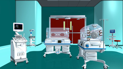 Babystation mit Inkubatoren.