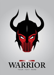 Horned head Warrior Mascot. Black Horned Warrior.