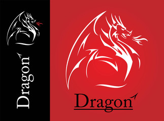 White Dragon, Dragon line art, spreading its wing. White Dragon