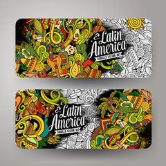 Cartoon hand-drawn doodles Latin American banners