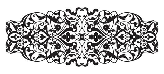 Oriental decorative element. Zentangle black and white