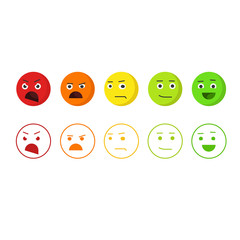 Feedback emoticons vector icons, concept of satisfaction rating emoji, level of rank, customer feedback emotions, review smileys isolated on white background