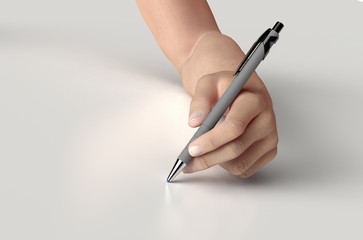 hand is writing with  a pen isolated on white