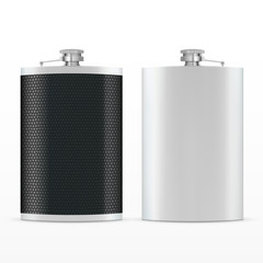 Metal hip leather flask.