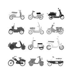 Vector vintage scooters retro motorbike. Retro motorbike motor transport old travel bike. Design engine retro motorbike black road urban drive scooter. Stylish hipster beautiful auto.