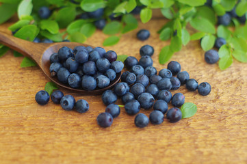 Juicy mature berries of bilberry in in a wooden spoon on a wooden surface.