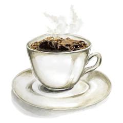 Hand drawn vector watercolor Espresso coffee on white