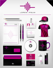 corporate identity template, realistic cup, business card, letterhead, envelope, usb stick, pen, lighter, t-shirt, hat. Abstract vector company professional  style for brand-book