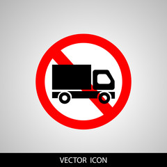 No truck forbidden sign symbol