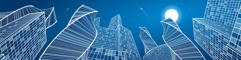 Wall Mural - Business building, mega panorama of night city, urban scene, infrastructure illustration, modern architecture, skyscrapers, airplanes flying, vector design art