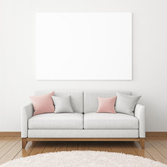 Horizontal interior poster mock-up with fabric sofa and pillows on  white wall background. 3D rendering.