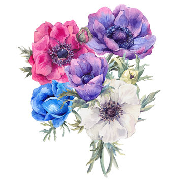 Watercolor greeting card with anemones