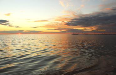 Dark sea sunset, Frankston beach, Victoria, Australia