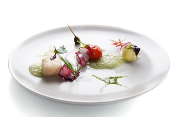 Molecular cuisine vegetable salad