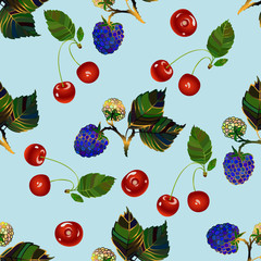 Cherry and blackberry seamless pattern.