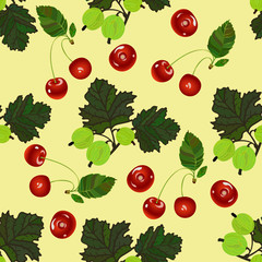 Cherry and gooseberry seamless pattern