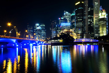 View  central business buildings and landmarks of Singapore.