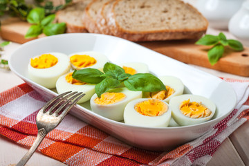 Boiled eggs on a platter.