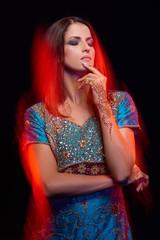 Fine art portrait of beautiful fashion Indian