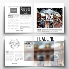 Set of annual report business templates for brochure, magazine, flyer or booklet. Colorful polygonal background, blurred image, night city landscape, modern triangular vector texture