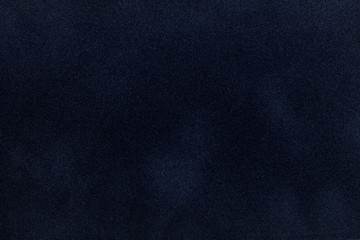 Dark blue suede fabric closeup. Velvet texture.