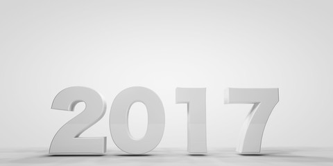 3d 2017 new year on white