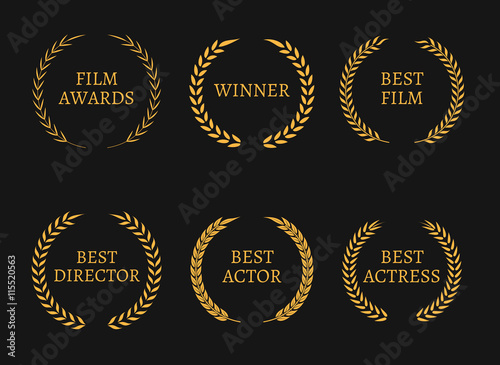 Film Academy Awards Winners And Best Nominee Gold Wreaths On Black