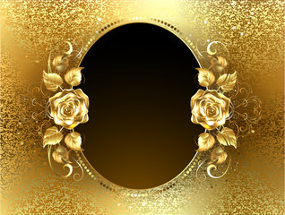 Oval Banner with Golden Roses