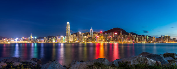 Fotomurales - Twilight of Victoria Harbour, Hong Kong